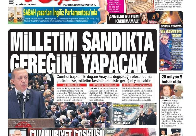 نشریات ترکیه در یک نگاه، نود و ششمین سالگرد تاسیس جمهوری، احتمال آزادی 129 هزار زندانی