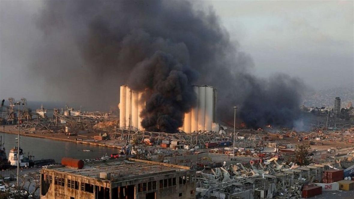 ویدئویی هوایی از خسارت های باقیمانده از انفجار بیروت