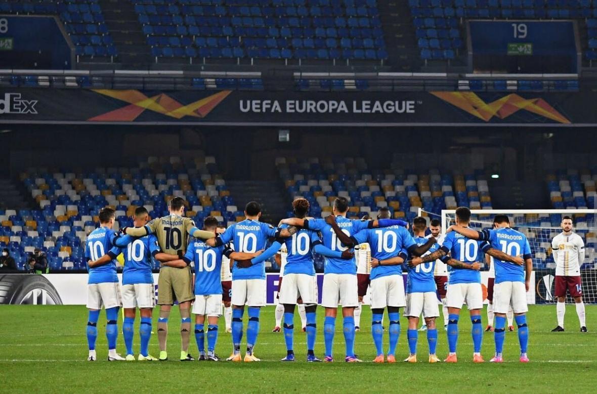 مراسم ناپولی به یاد دیگو مارادونا در لیگ اروپا