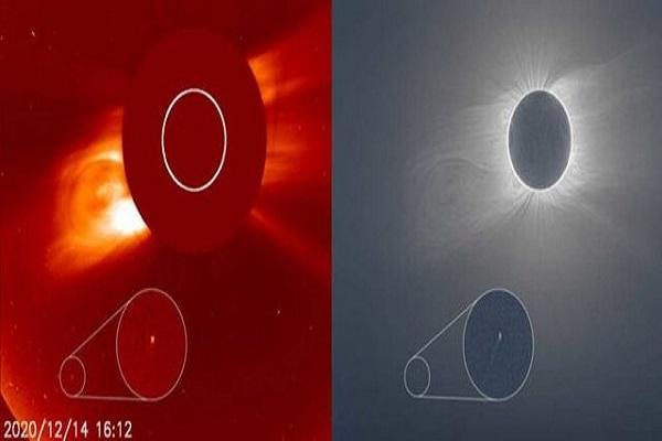 تصویری از یک دنباله دار پیش از خورشید گرفتگی